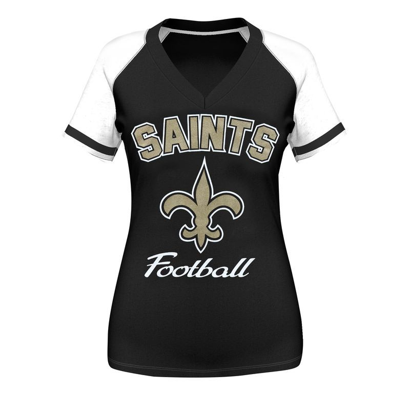 a8af38938 New Orleans Saints Majestic Women's Go For Two IV V-Neck T-Shirt - Black