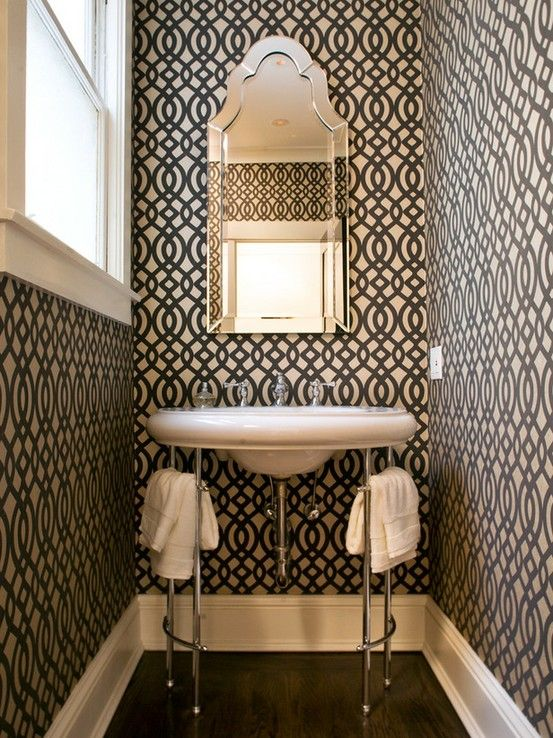 Love The Wallpaper I Would Put In Some Hot Pink Accessories In Here Bathroom Design Small Powder Room Small Powder Room Design