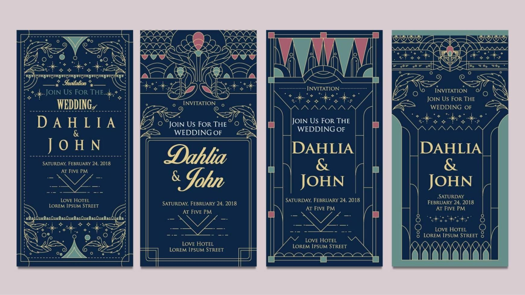 Art Deco Wedding Invitations Design Vector Flyer Pinterest