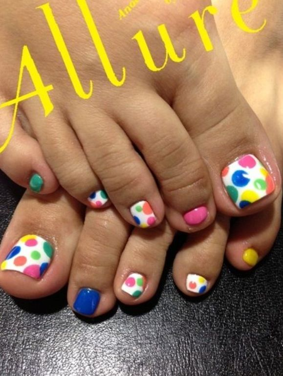 Colorful Nails with Dots | Nails | Pinterest | Colorful nails ...