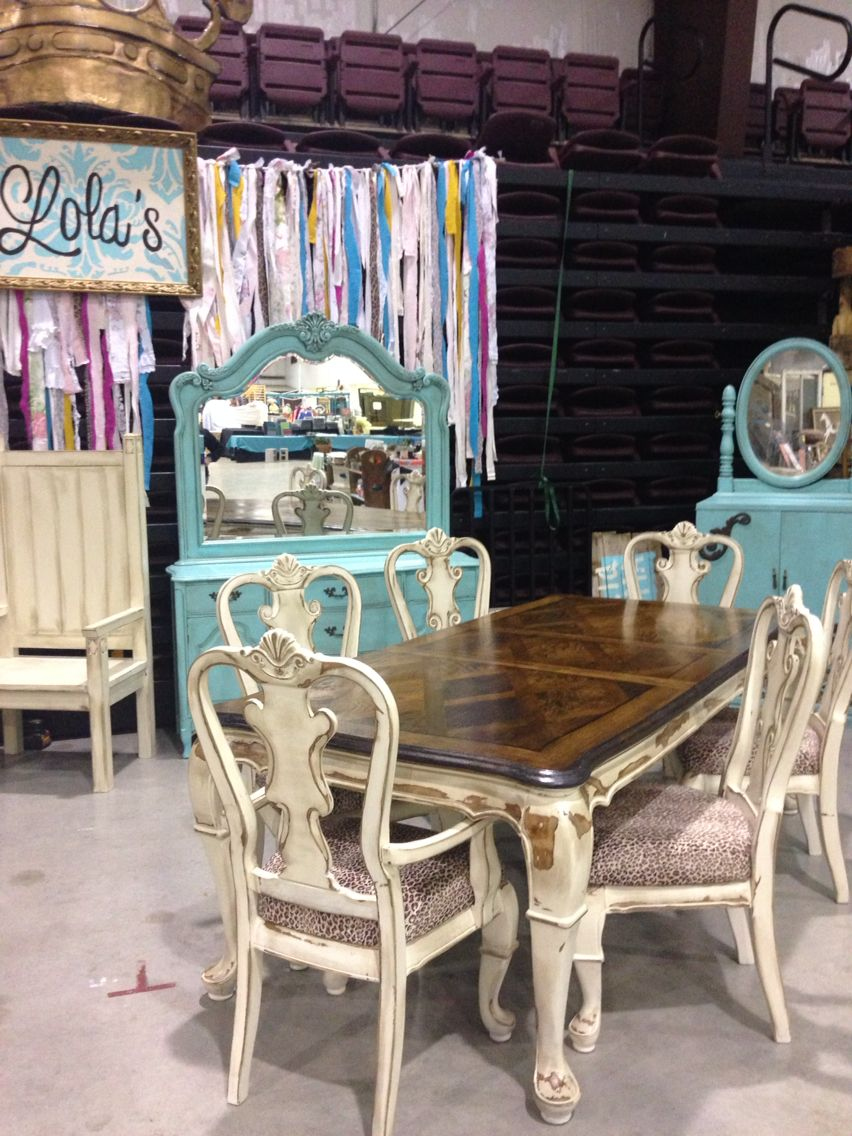 Vintage Antiques Boho Repurposed Up Cycled Furniture Junk Garden Gypsy Bed Cabinet Turquoise Chippy Rusty Retro Dining Table Dresser Leopard Cream