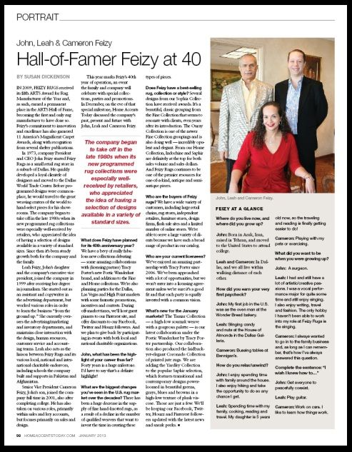 PORTRAIT: John, Leah & Cameron Feizy, at the beginning of Feizy Rugs' 40th year