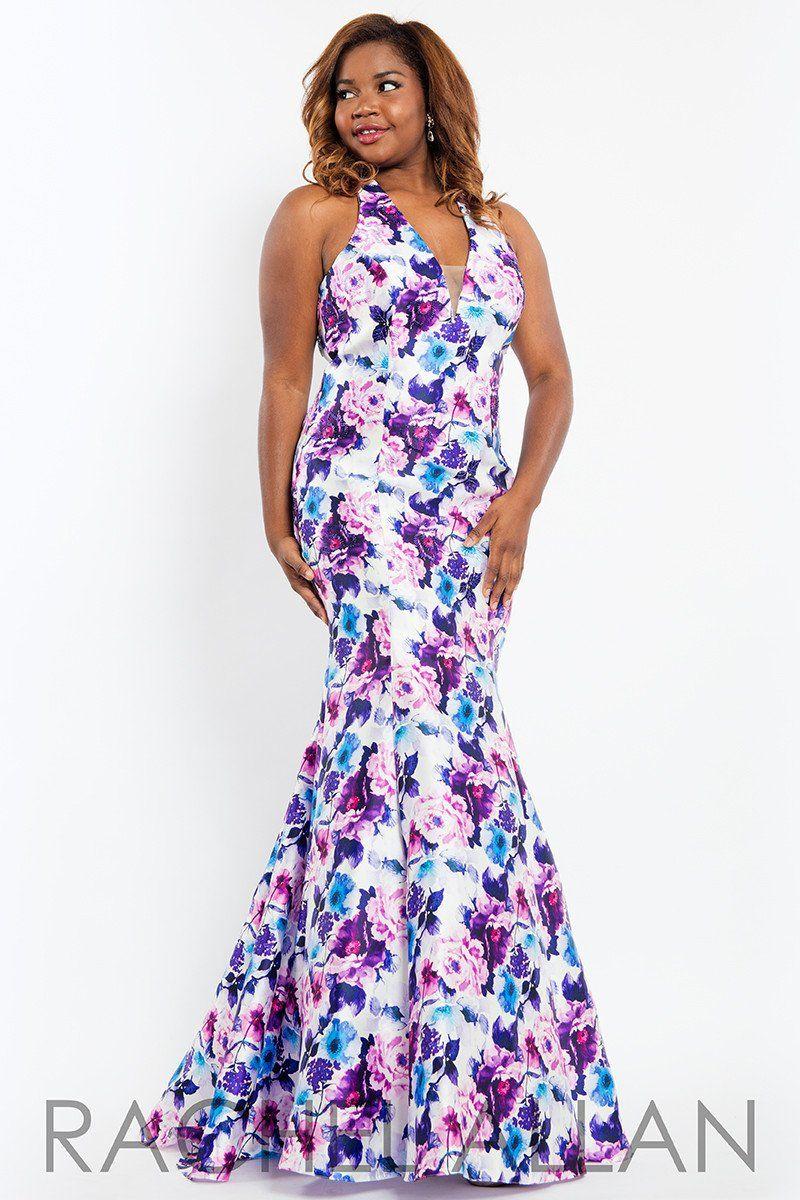 Rachel allan plus lilac halter floral mermaid prom dress