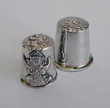 2 Siam Sterling Silver Thimbles