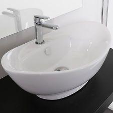 Lavabo bagno da appoggio in ceramica bianco monoforo 59x39 cm a ...