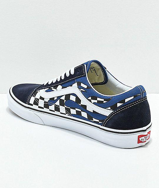 Vans Old Skool Checkerboard Flame Navy White Skate Shoes Skate Shoes Vans Old Skool Vans
