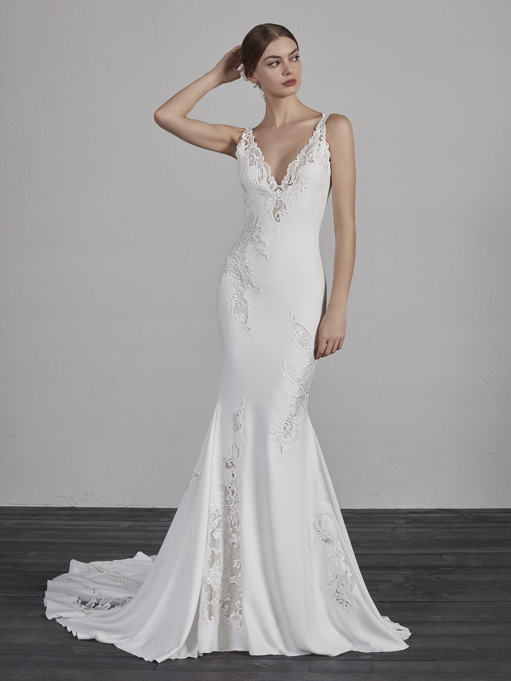 Lace over tulle wedding dress january 2019 The crepe crafted with threadembroidered appliqués and beading