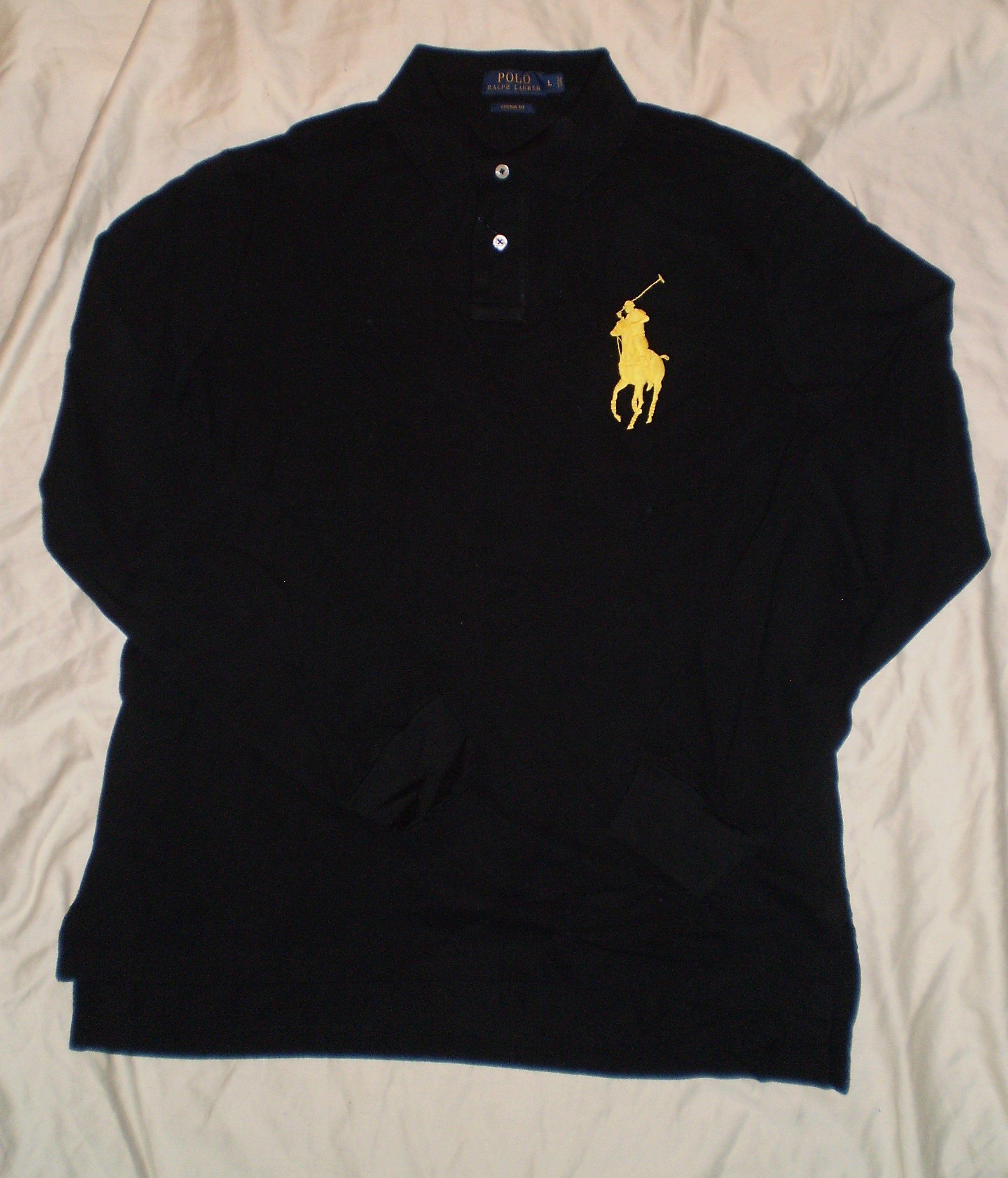 Ralph Lauren Mesh Polo Men Black Long Sleeved