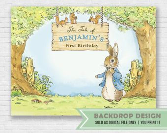 Shabby Chic Peter Rabbit cake topper fabric Peter Rabbit birthday party decoration L244