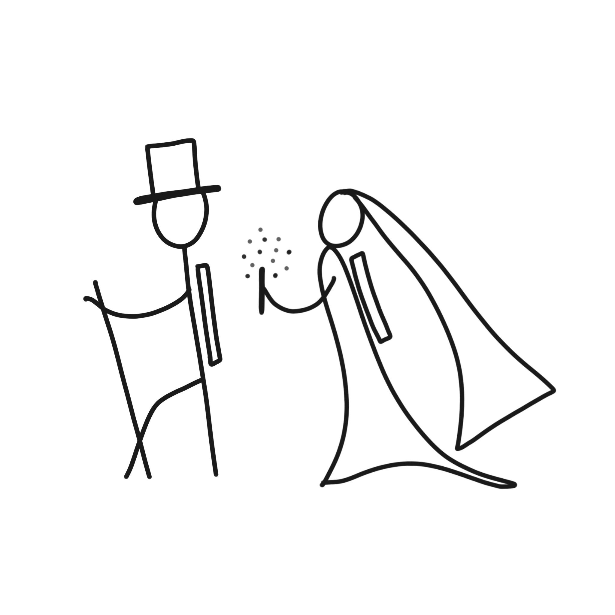 Fun little #hiker Bride & Groom that I sketched for a special save the date project!