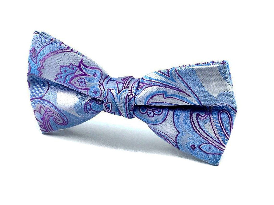 Great Quality. Blue Floral Cotton Wedding Pre-Tied Bow Tie /& Pocket Square Set