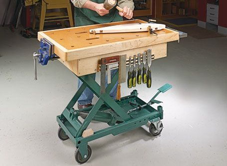 Scissor Lift Workbench Woodsmith Plans Tools