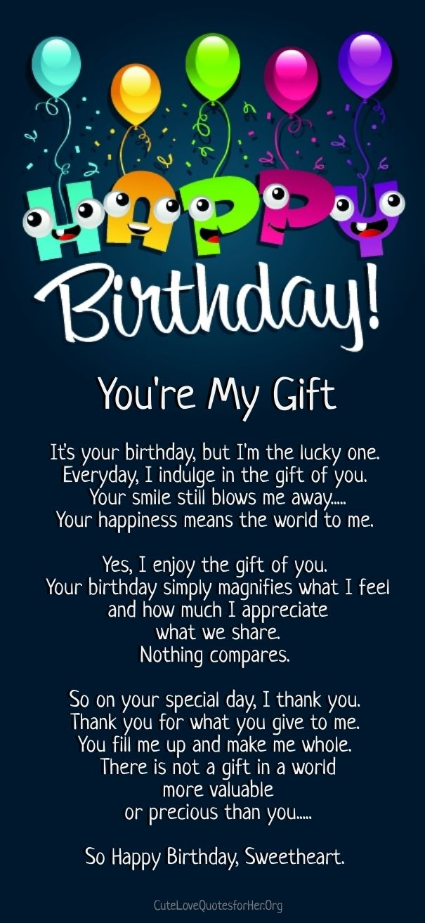 Happy Birthday Quotes For Her Adorable Happy Birthday Love Poems  Cute Love Quotes For Her  Pinterest