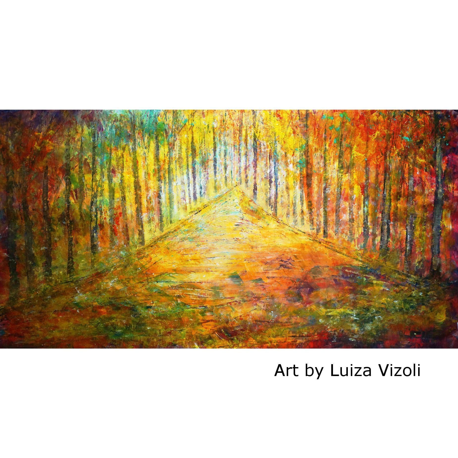 Large Canvas Painting 60x30 Original Wall Art SUNSET Trees Landscape ...