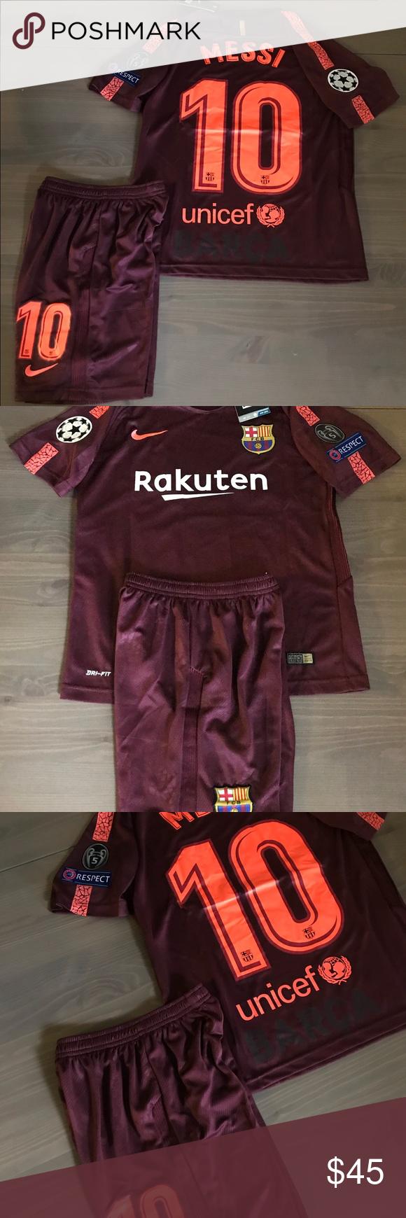 dce94fc6288 Kids kit Barcelona burgundy Messi  10 nike soccer Kids kit Barcelona Away burgundy  Messi