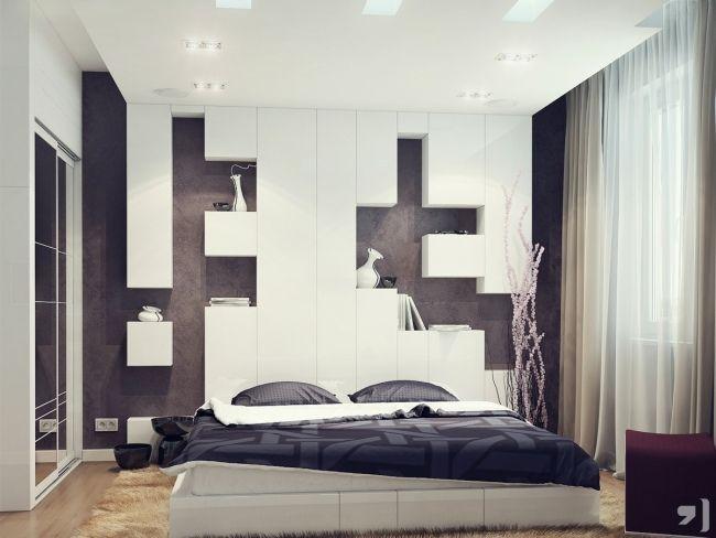 ideen wand schlafzimmer hinter bett weiß braun regale kuben ...