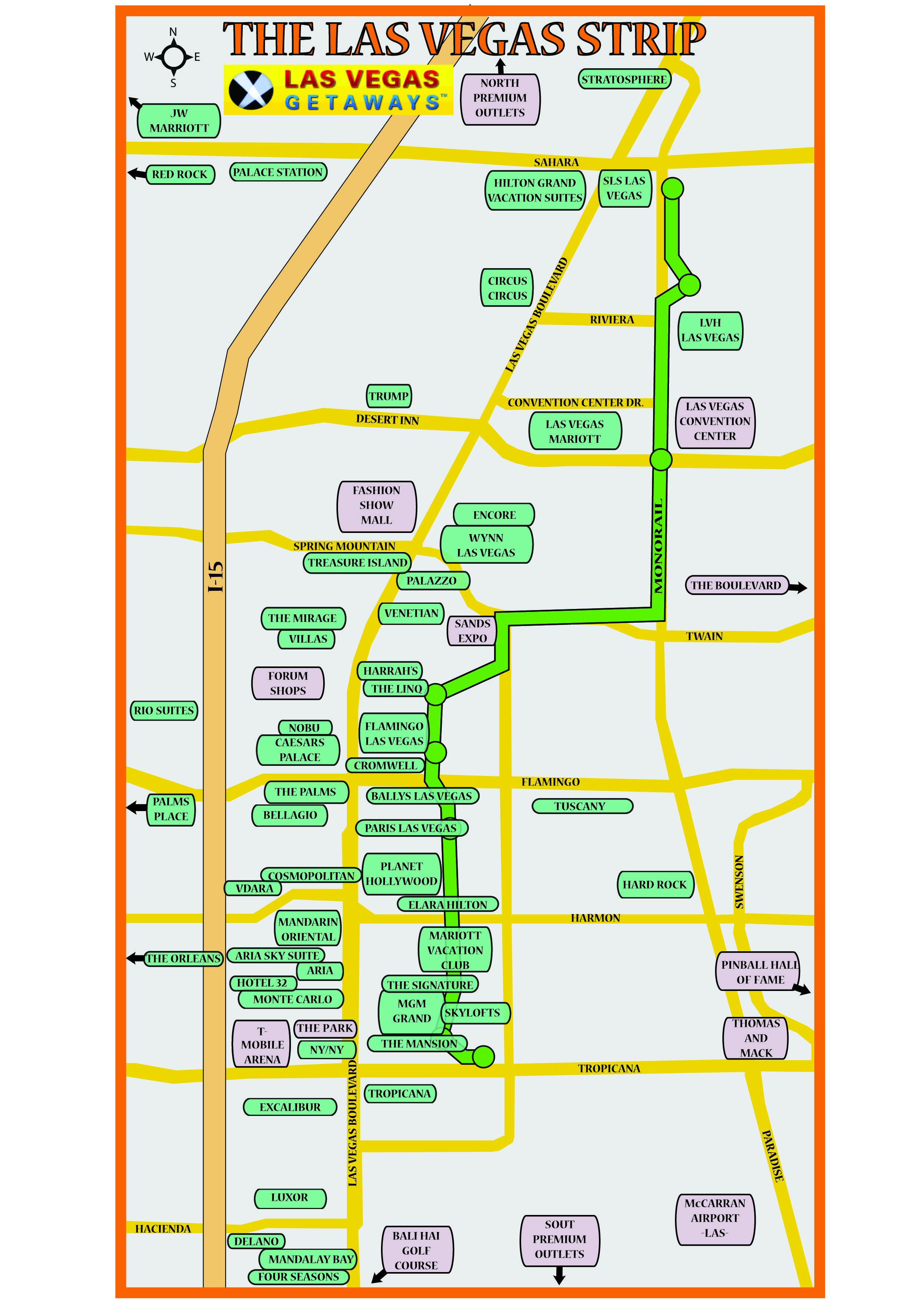 The Park Las Vegas Map.Las Vegas Strip Map Las Vegas Getaways Vegas Getaway Las Vegas