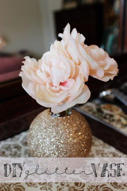 My Polished Side Diy Gold Glitter Vase Crafts Pinterest