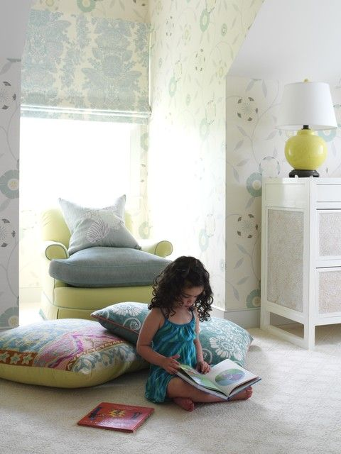 : Astonishing Beach Style Kids Decor With Grey Throw Pillows On Green Lounge Sofa Also Desk Lamp On The White Dresser