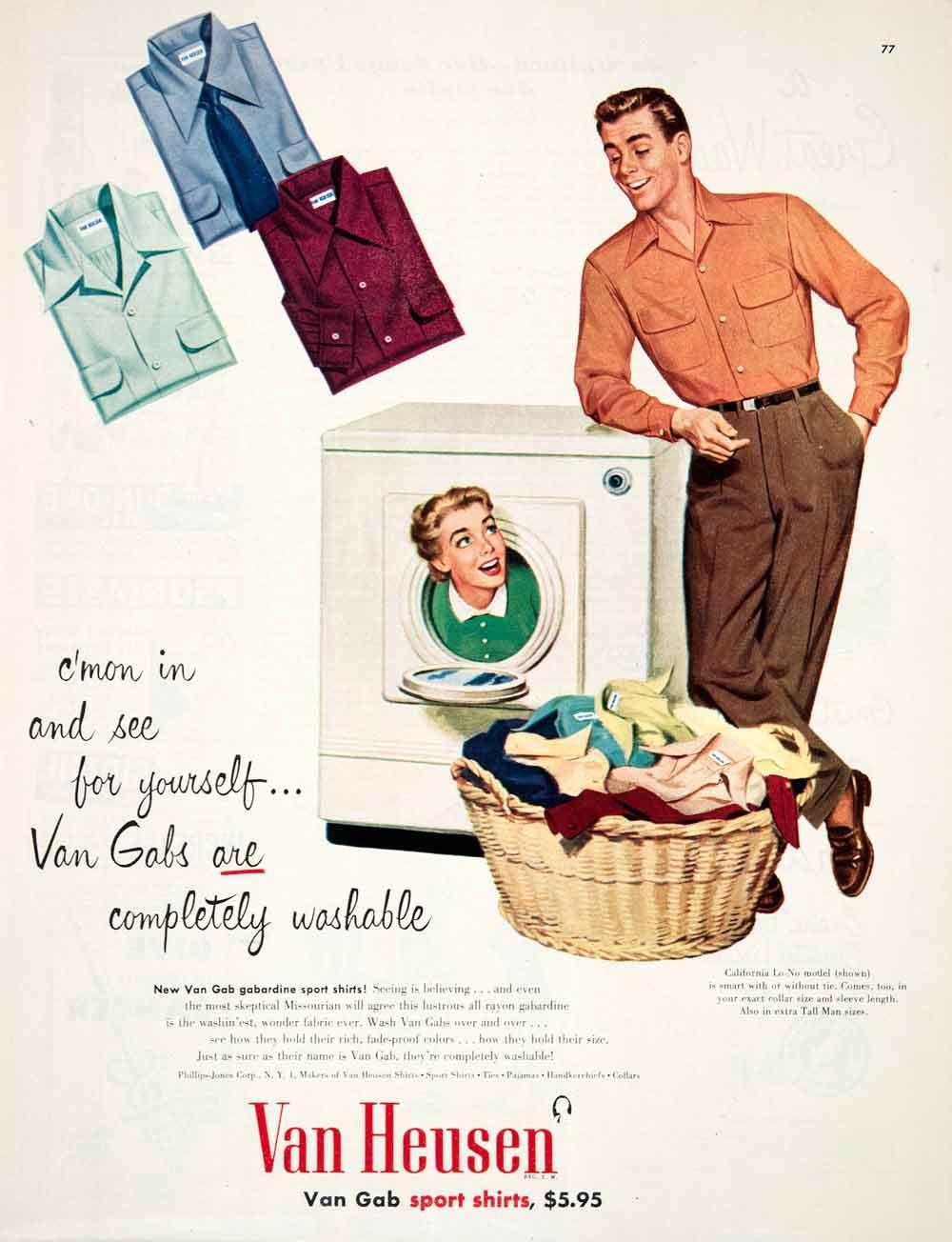 1951 Ad Van Heusen Gabardine Sport Shirt Phillips Jones Woman Washing  Machine