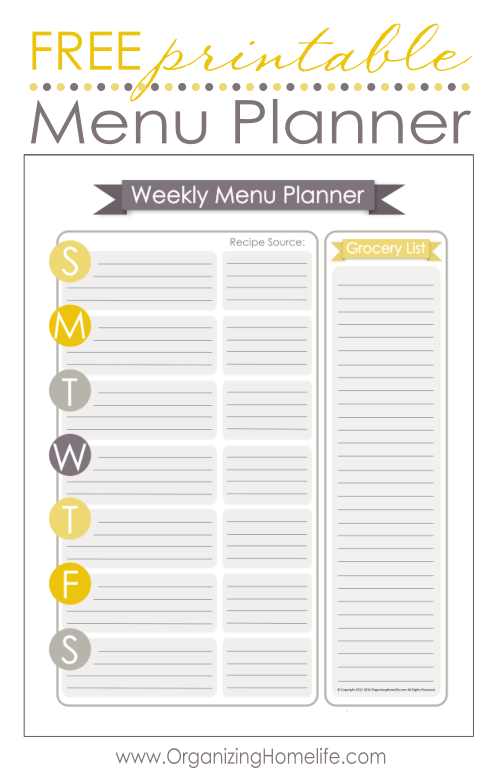 Organizing with Printable Schedules Lastly I also keep my menu