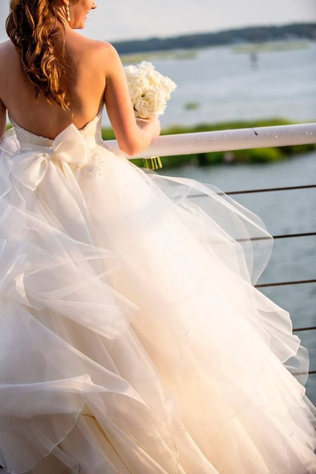 """Detail shot of a real bride wearing Hayley Paige, """"Mila"""" gown."""