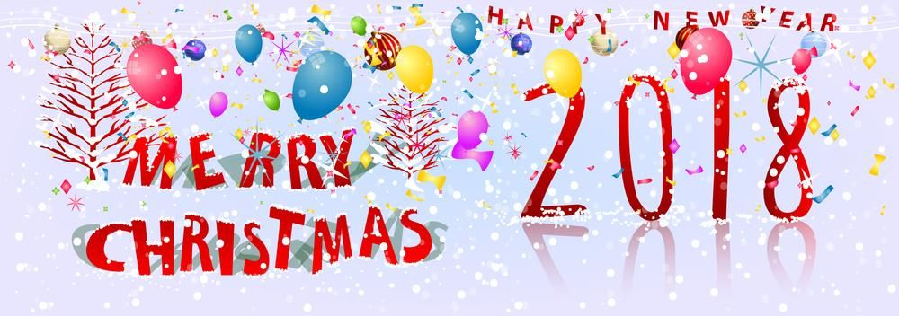merry christmas new year 2018 greeting banner