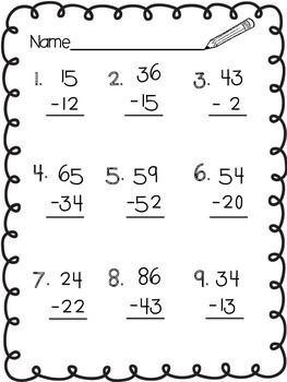 Double Digit Subtraction Without Regrouping Subtraction