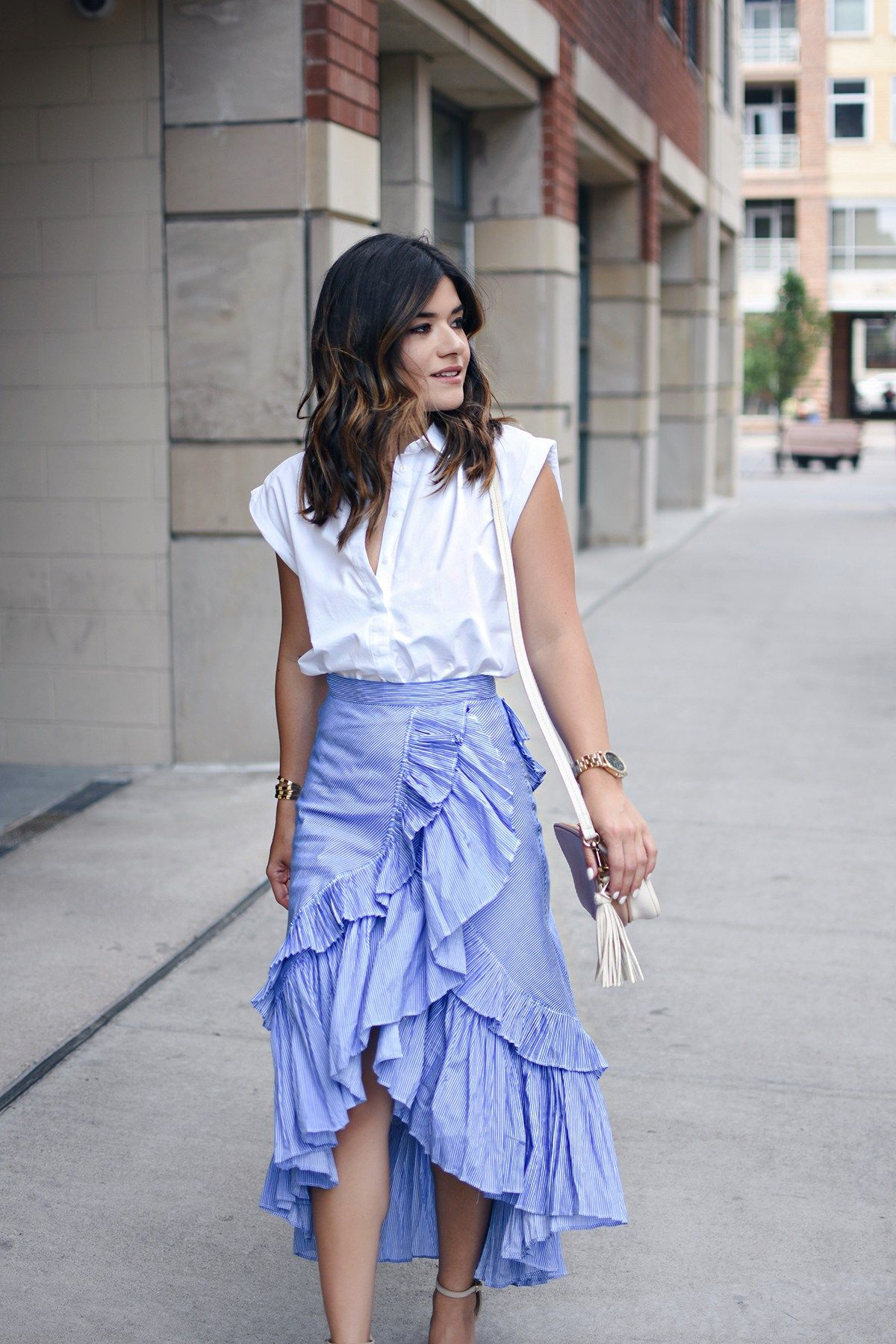 0e3a57ab Carolina Hellal of Chic Talk wearing a Chicwish Maxi Skirt, Topshop white  button down and Public Desire sandals