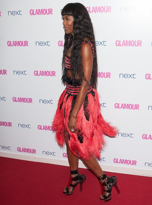 Naomi Campbell Wears Alexander McQueen Cocktail Feather Dress