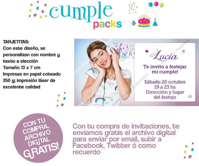 Cumple Packs Violetta La Serie Tarjetita De Invitación Sticke Tarjetas De Invitación Tarjeta Invitaciones