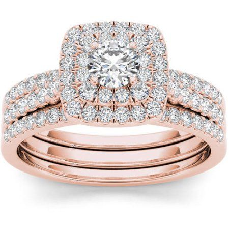 Imperial 1 Carat TW Diamond 10kt Rose Gold CushionShape Double