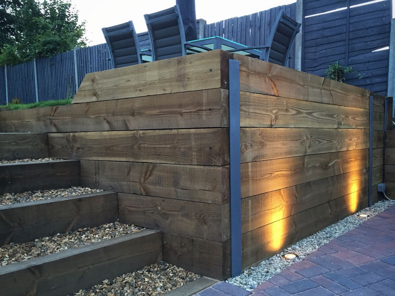 Outside Driveway Wall Lights : Finished retaining sleeper wall, steps, block paving driveway and exterior LED garden lighting ...