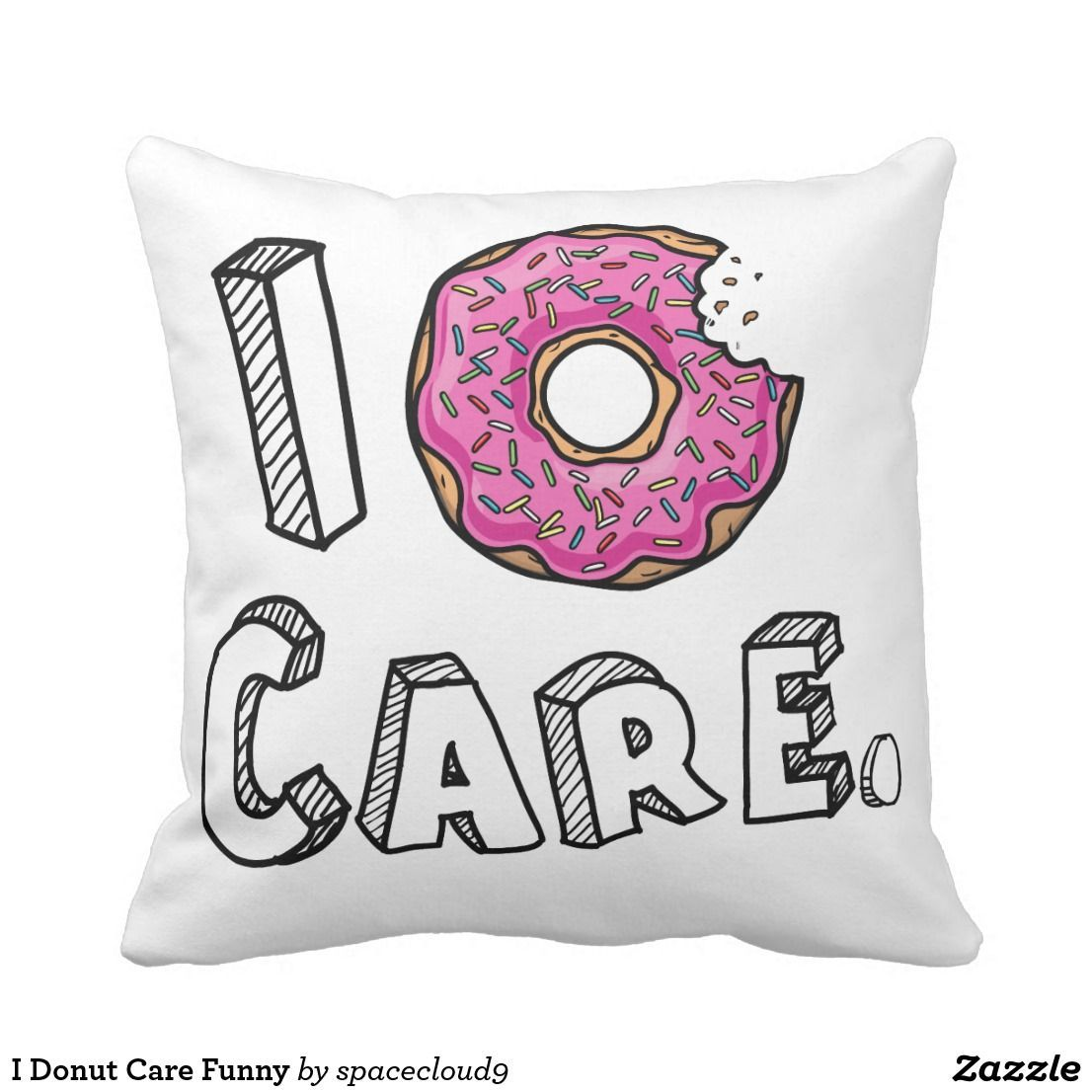 I donut care funny throw pillow decorativepillowscouchgold