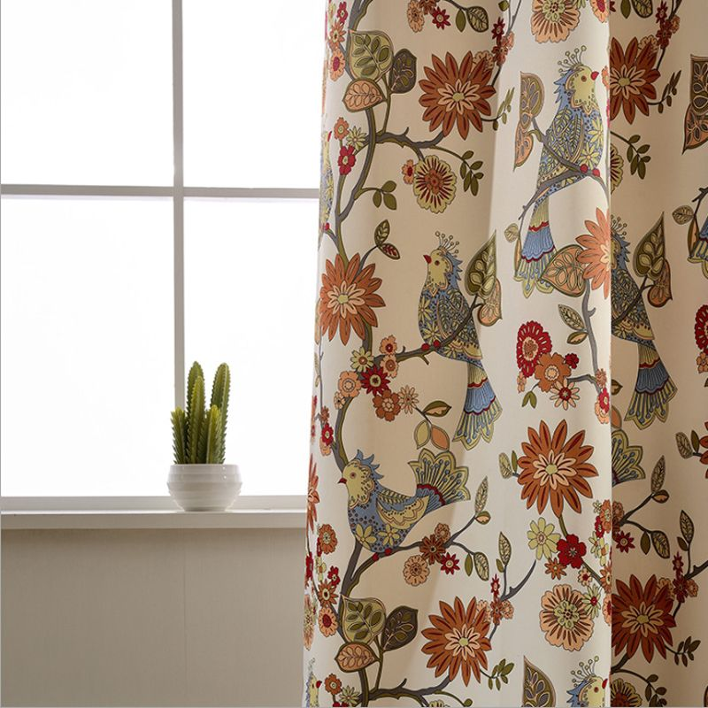 Marvelous American Living Curtains Rustic Home Decor Birds Pattern Window Treatments  Printed Bedroom Drapes Single Panels (A312)