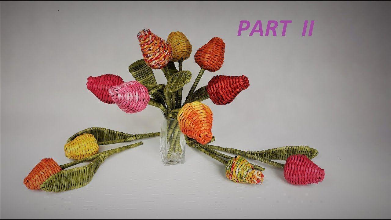 Papierowa Wiklina Tulipany Czesc Ii Paper Weaving Newspaper Crafts Paper Architecture