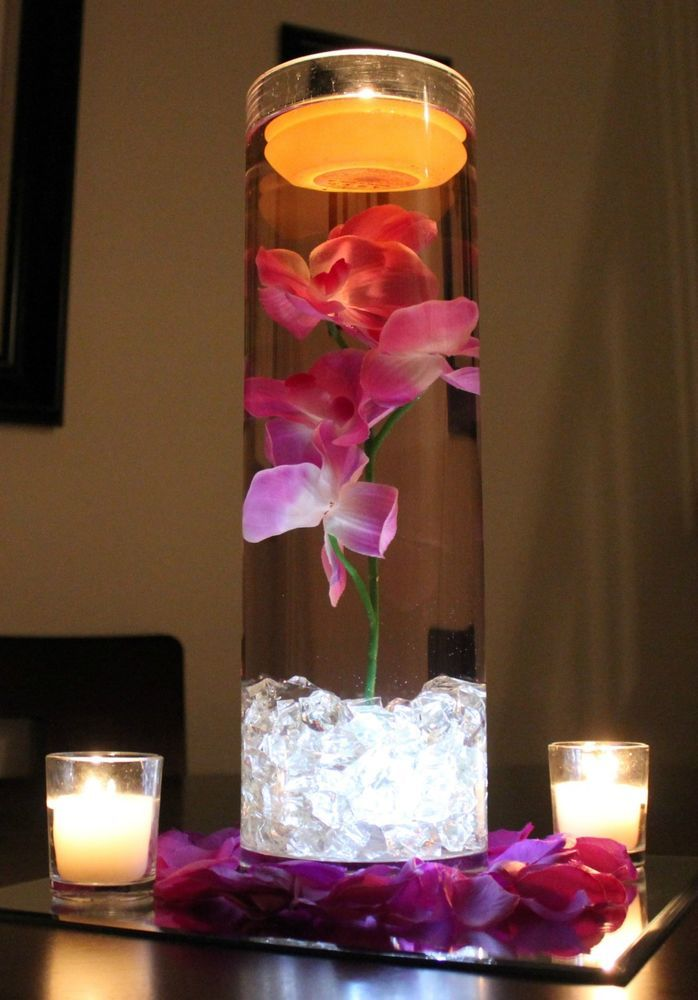Wedding Centerpiece 16x5 Glass Vase With Flower Led Light