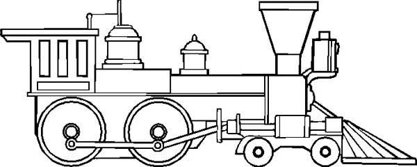 Line Art Train : Drawing of steam train locomotive coloring page color