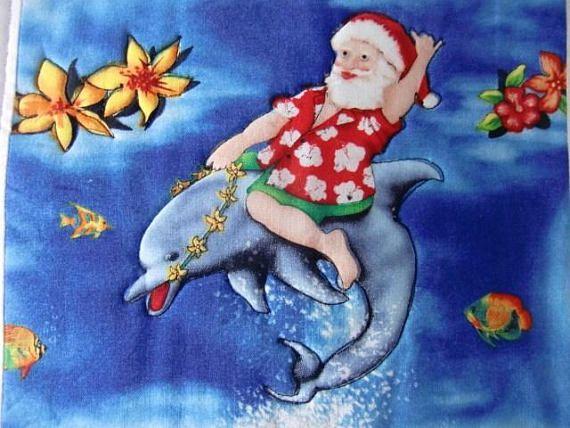 27626b25 Hawaiian Christmas Table Quilt, Santa and Dolphin Wall Hanging, Mele ...