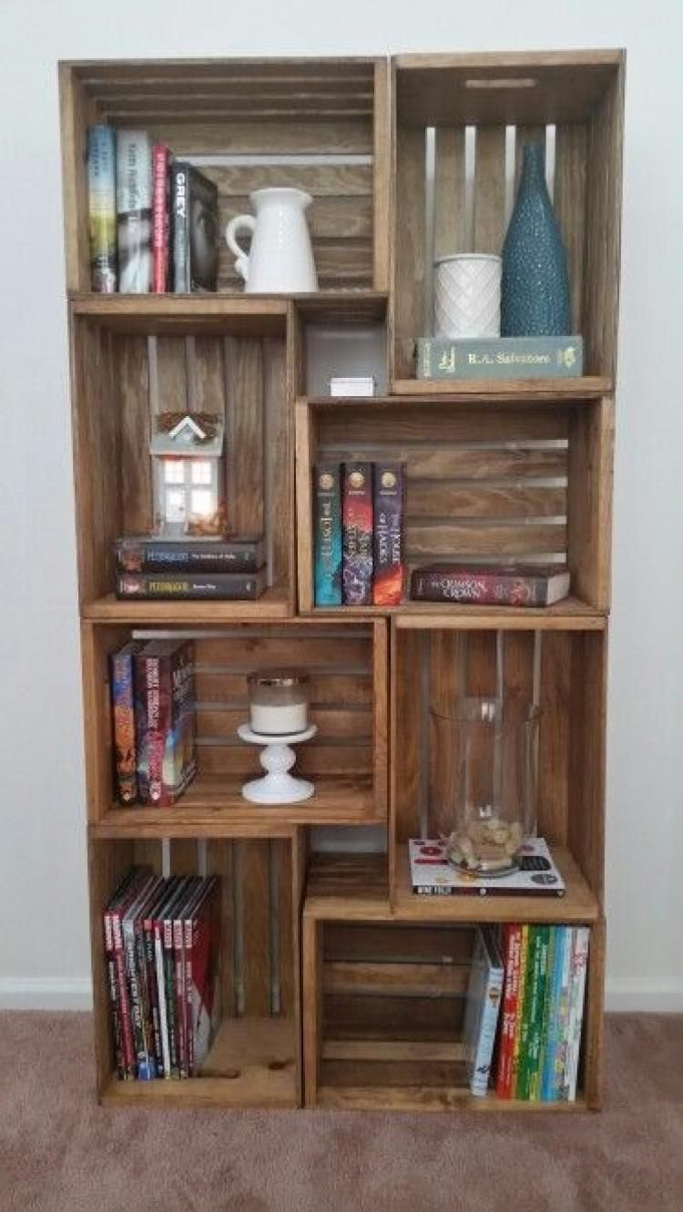 46 Awesome Diy Crate Bookshelf Ideas To Apply Your Home Page 36 Of 48 Bookshelves Diy Crate Decor Wood Crate Shelves