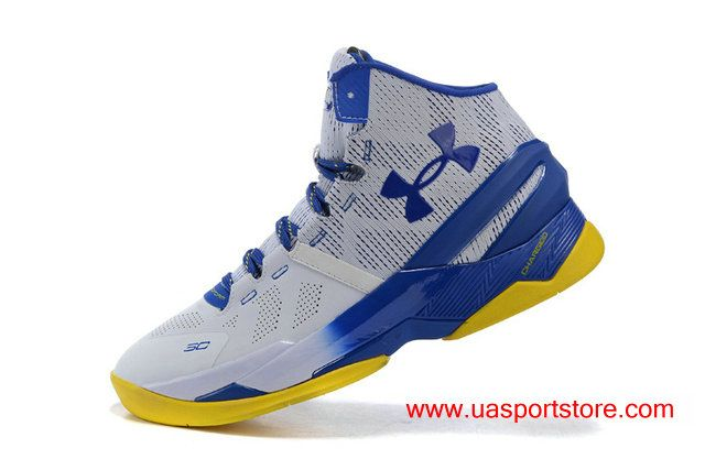 b5bb2675ab8a UA Curry 2 White Royal Blue Yellow Bottom Basketball Shoes For Men ...