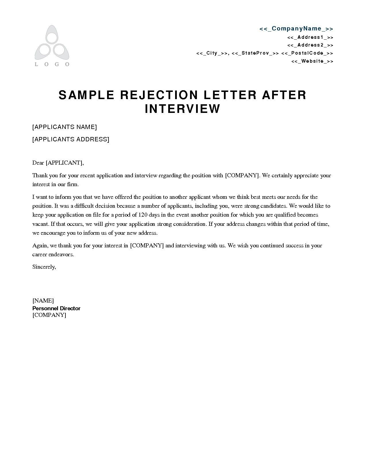 New Job Rejection Letter Template Job Rejection Letter After