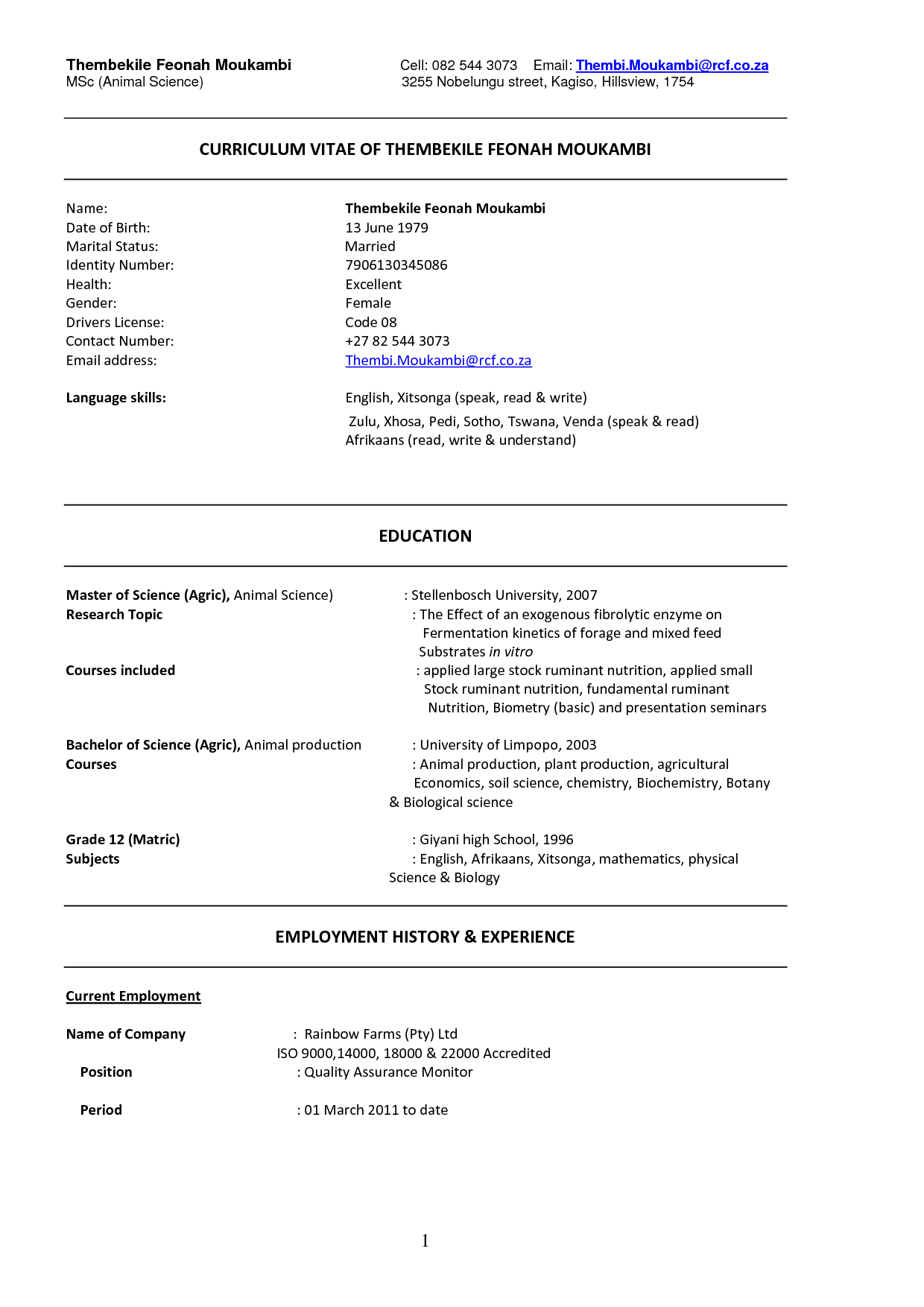 example of south african curriculum vitae