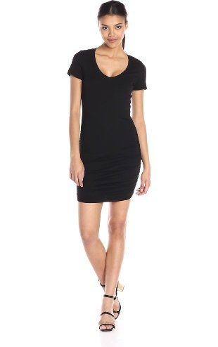 Michael Stars Women's Short Sleeve V Neck Mini Dress with Ruching, Black, Small ❤ Michael Stars Women's Contemporary