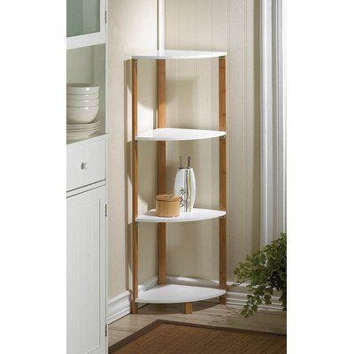 42 Quot Open Back Panel Corner Unit With Four Triangular Shelves In A White Wood Finish Made From Solid Wood Manifactured Wo Shelves Corner Shelves Bookcase