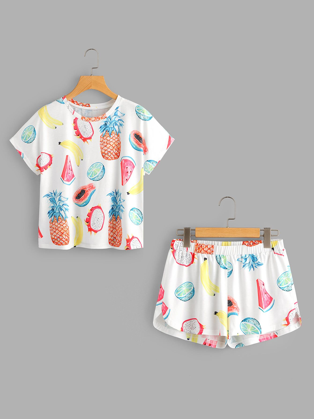 a77d06a77e Shop Fruits Print Top And Dolphin Shorts Pajama Set online. SheIn ...