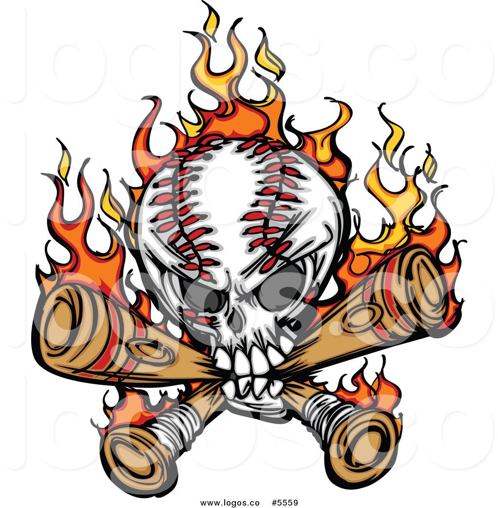 royalty free vector of a logo of a baseball skull biting crossed rh pinterest com Skeleton On Motorcycle Clip Art Happy Birthday Nature Clip Art