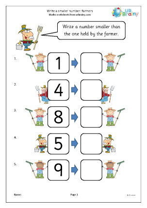 Ordering Numbers Maths Worksheets For Later Reception Age 4 5 Math Worksheet Writing Ordering Numbers