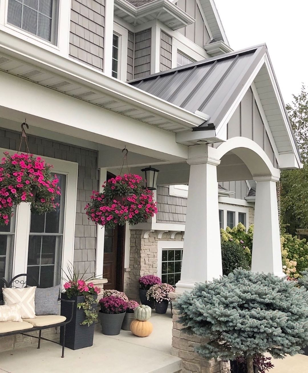 Grey Craftsman Style Home Large Front Porch Grey Shaker Style Home Exterior Caroline On Design Home Exterior Siding Options House Exterior Siding Options