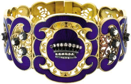 Rare French Enameled Gold and Diamond Royal Presentation Bracelet Circa 1850, stamped with eagle head poinçons and Paris lozenge mark The center segment of cartouche outline decorated with royal blue guilloché enamel in a sunray pattern and an openwork scrolling foliate design, framing a central nine-pointed diamond-set coronet, with additional graduated curved panels of scrollwork decorated with blue enamel and set with eight small diamonds.